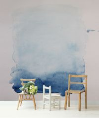 Blue Wash Removable Wall Mural, Blue and White Watercolour ...