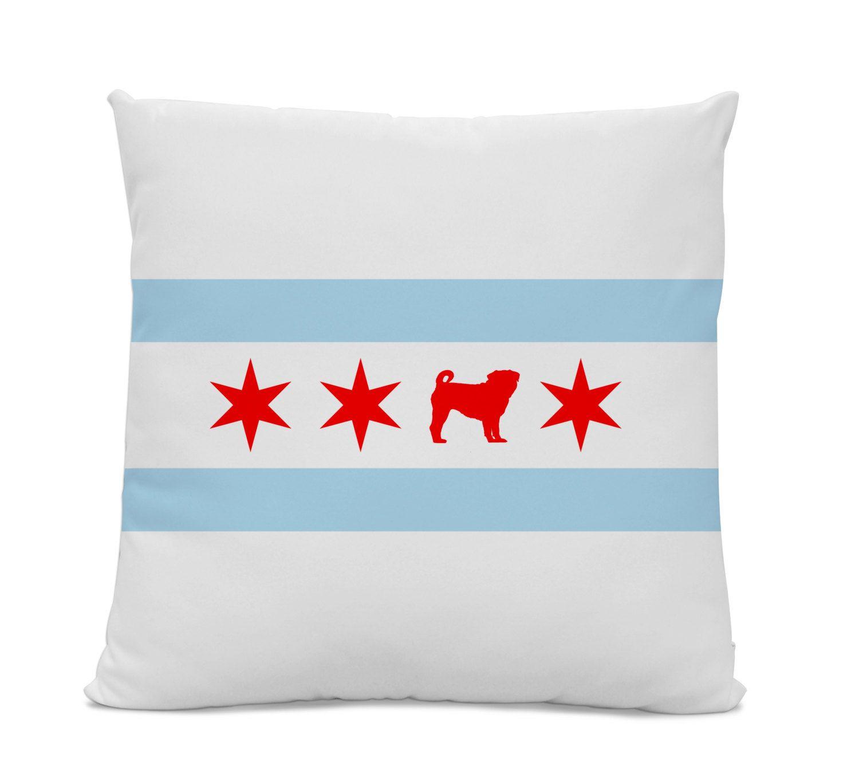 Chicago Flag Pug Pillow Chicago Home Decor Pug Pillow Dog