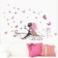 LIKETECH Fleurs et fe rose, arbre et papillons, sticker ...