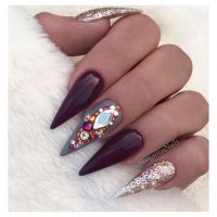 Fall nail art design Glitter Bling Stiletto nails ...