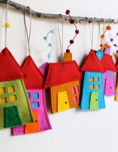 House ornament set of eight felt decoration for wall hanging also ornaments houses rh za pinterest