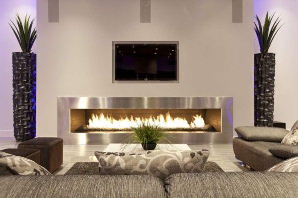 Perfekt Wohnzimmer Design Mit Einem Kamin Und Dekopflanzen Wie