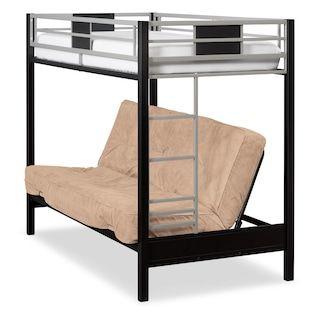 Samba Youth Twin Full Futon Bunk Bed With Cuccino Mattress
