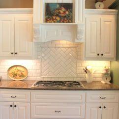 White Tile Backsplash Kitchen Island On Wheels Subway Or Morrocan With Cabinets