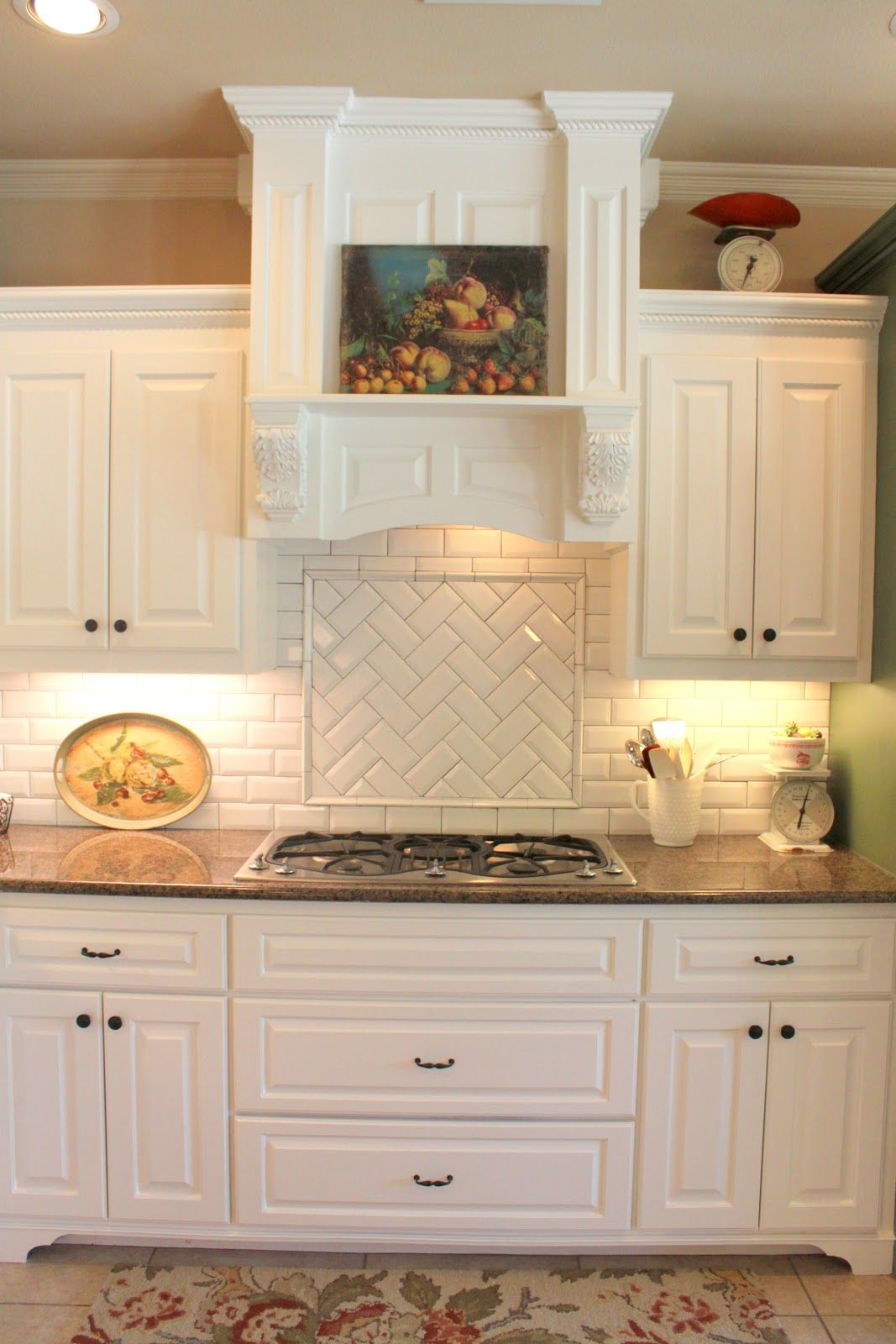 white tile backsplash kitchen distressed island subway or morrocan with cabinets