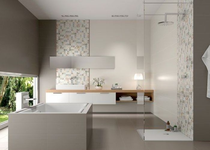 Gray and white bathroom tiles design different also