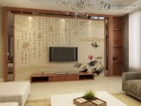 New Chinese-style living room TV background wall tile ...