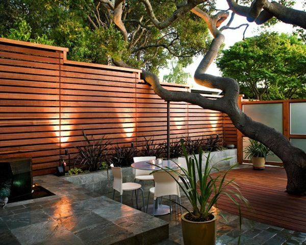 Small Garden Design Patio Ideas Wooden Deck Privacy Fence Outdoor