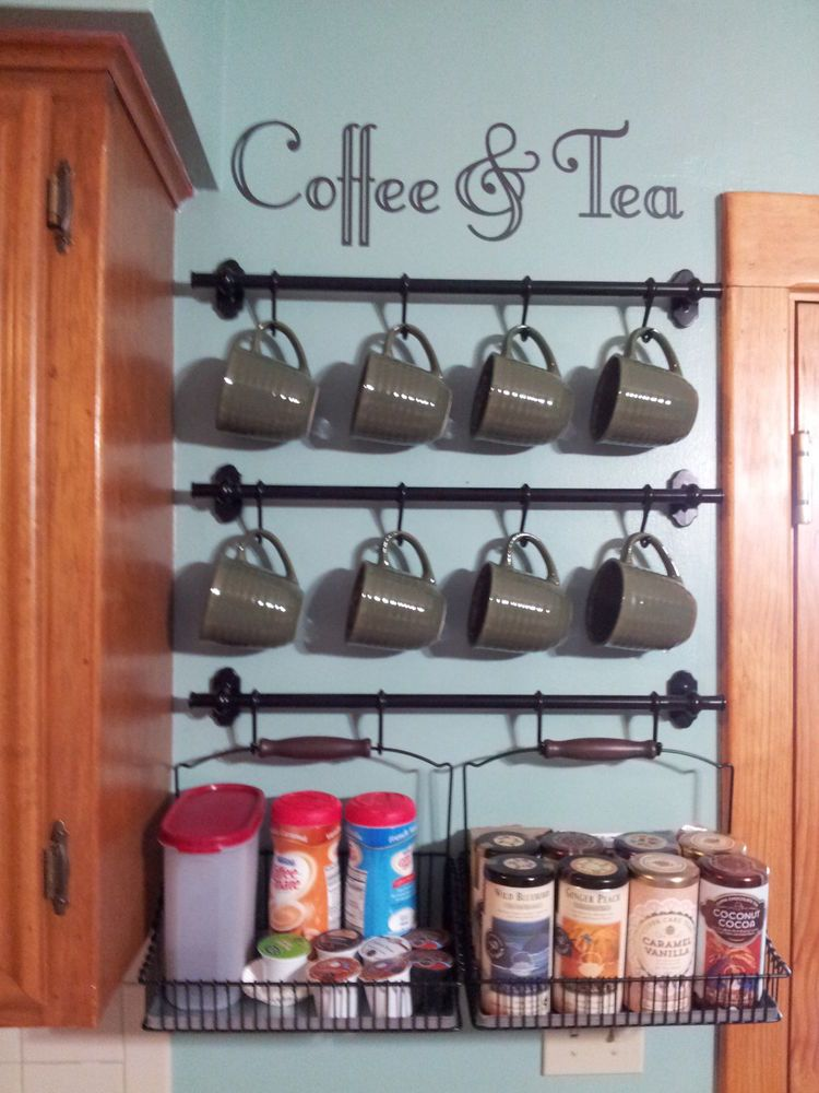 Coffee & Tea Wall Art Decal for Coffee Bar Decor (Decal