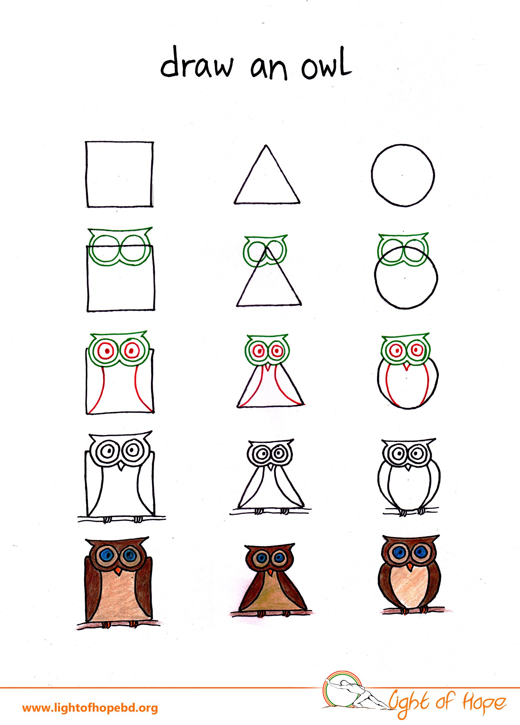 Draw An Owl From Basic Shape Get The Whole Printable