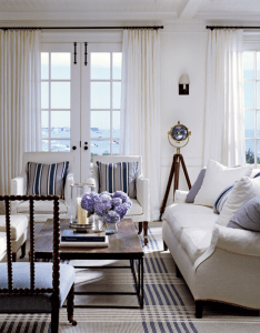 Blue and white plaid flat weave rug in living room of nantucket house by victoria hagan also http stylishlivablespaces designers who inspire hamptons rh pinterest