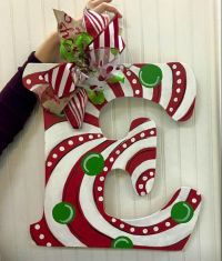 Single Letter Monogram Wooden Door Hanger / Candy Cane