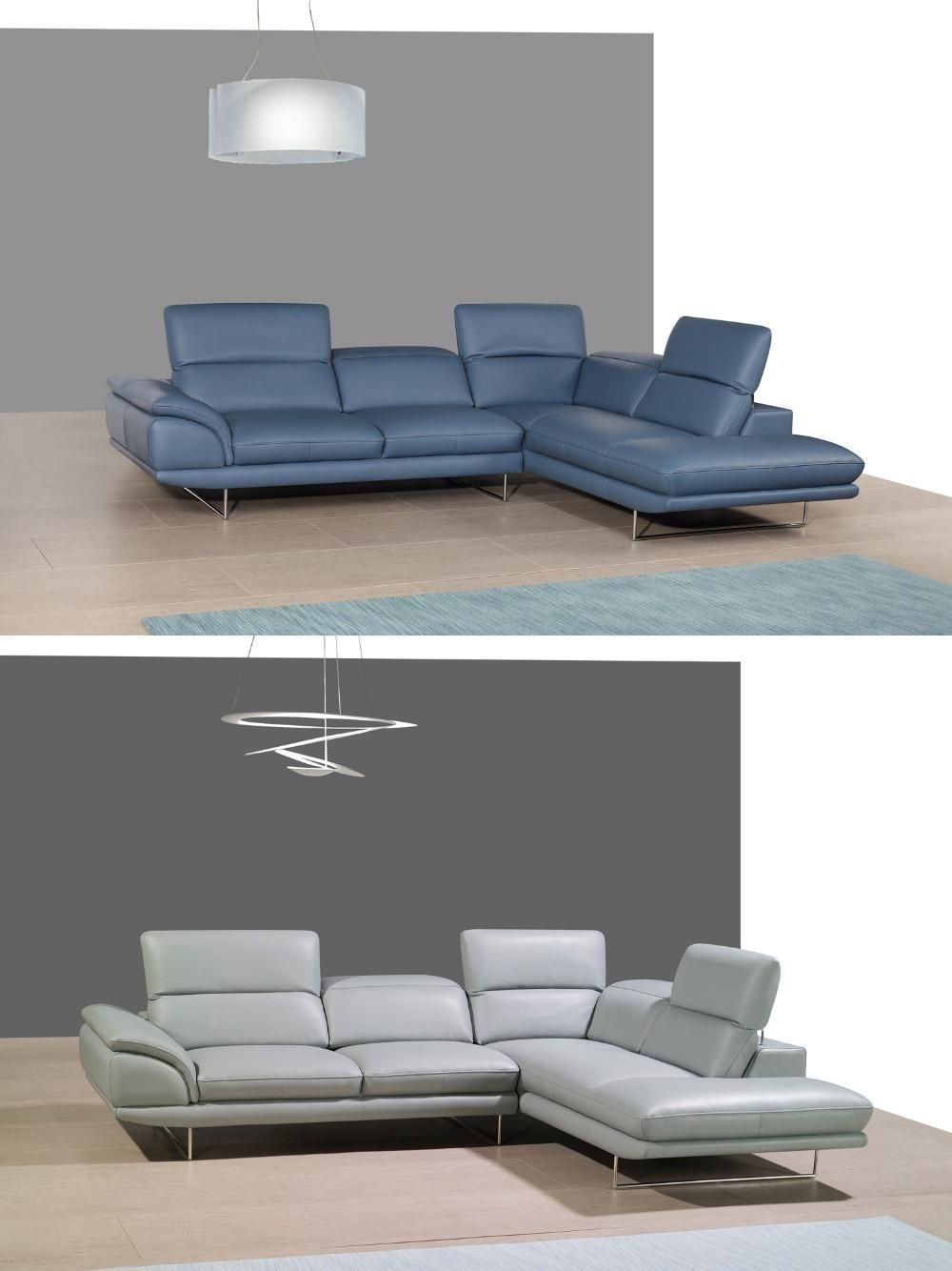 genuine leather sofa uk rattan sleeper sets sectional living room corner home furniture couches with functional headrest modern style