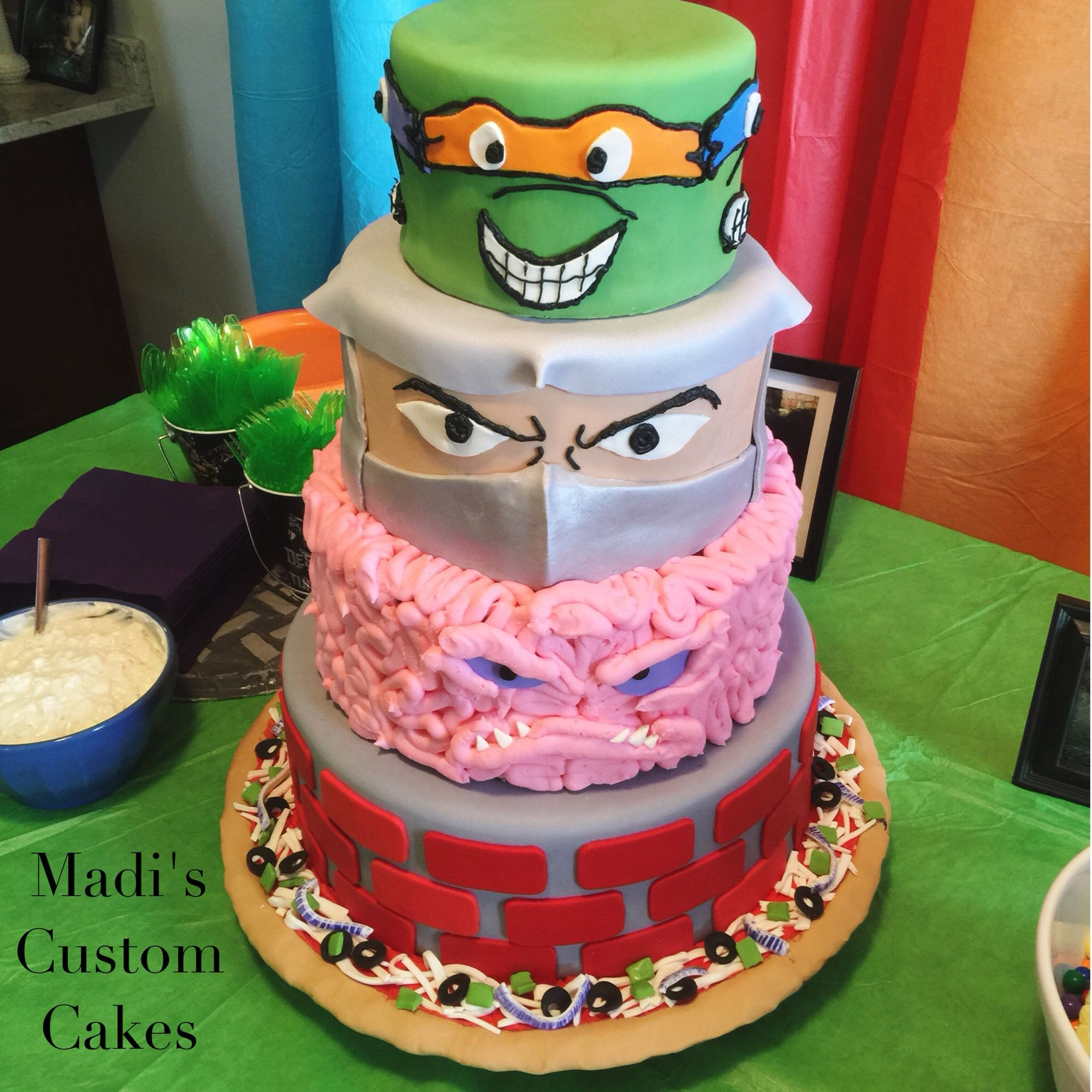 Tmnt Cake Krang Shredder And Ninja Turtles By Madison