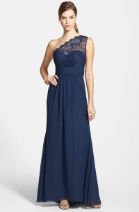 Jim Hjelm Occasions One-Shoulder Lace & Chiffon Gown ...