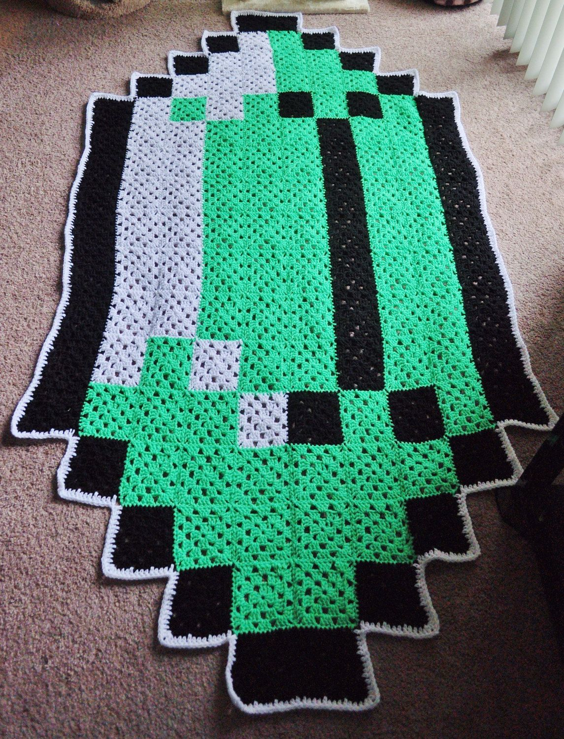 Gaming Teppich Large Zelda Inspired Rupee Pixel Crochet Rug By