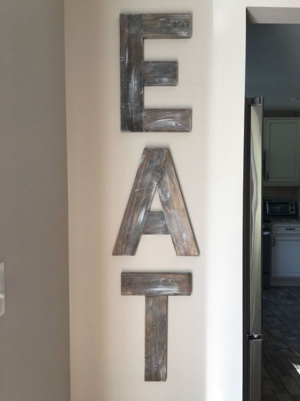 Eat Sign - Wooden Letters Wood Decor Rustic