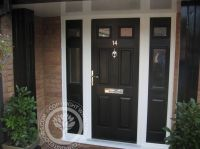 Elegant Black Composite Front Door With 2 Side Window ...