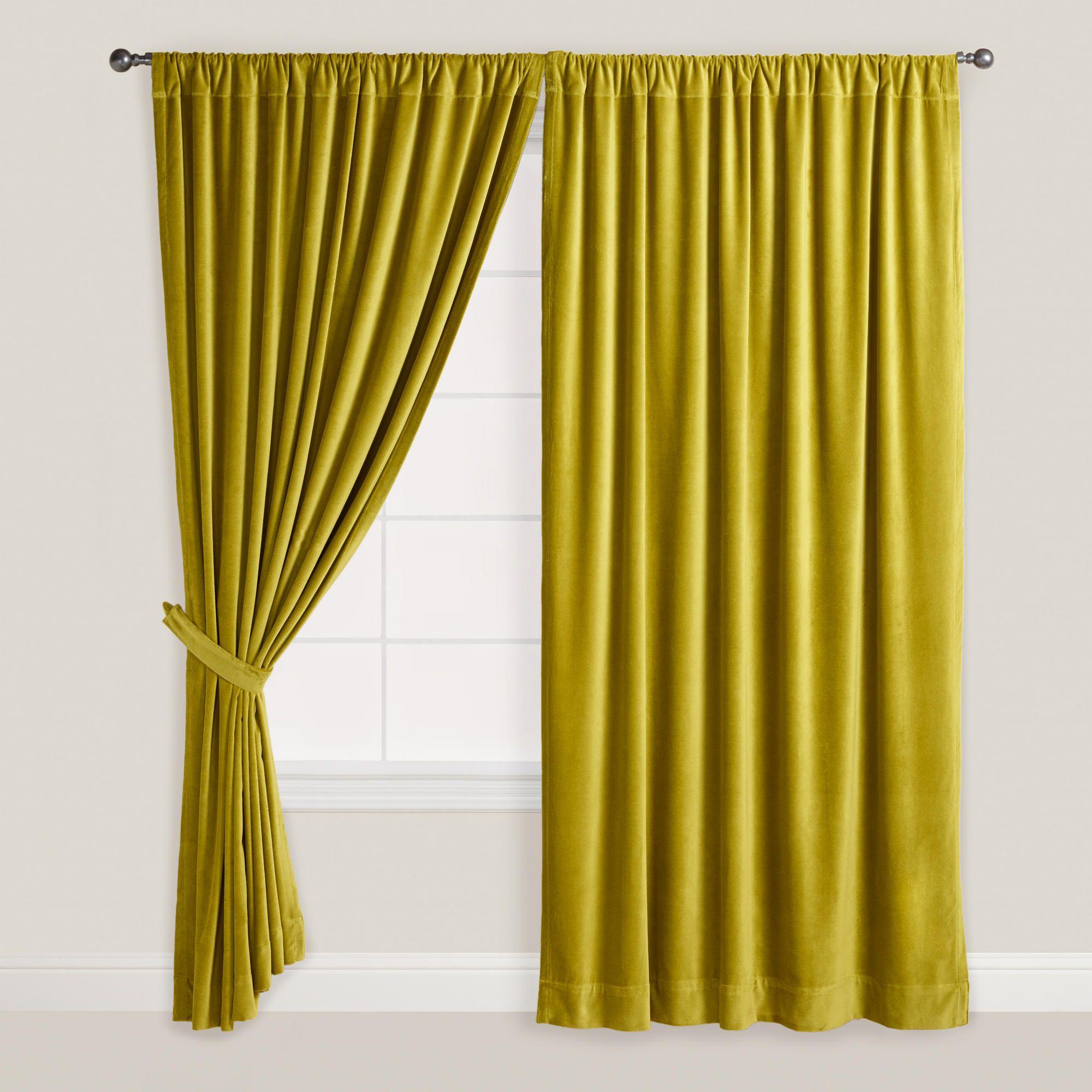 Green Velvet Oasis Curtain  World Market bedroom
