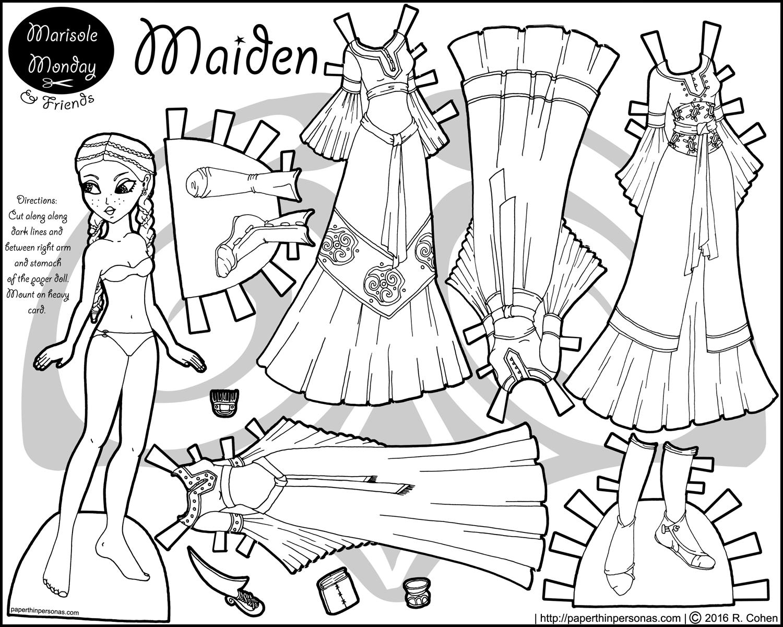 Maiden Fantasy Paper Doll Margot Bw