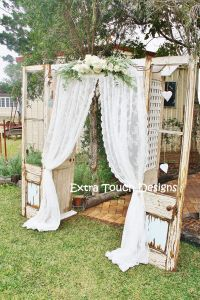 Vintage Wedding Ceremony Arch. Old doors, lace curtain ...