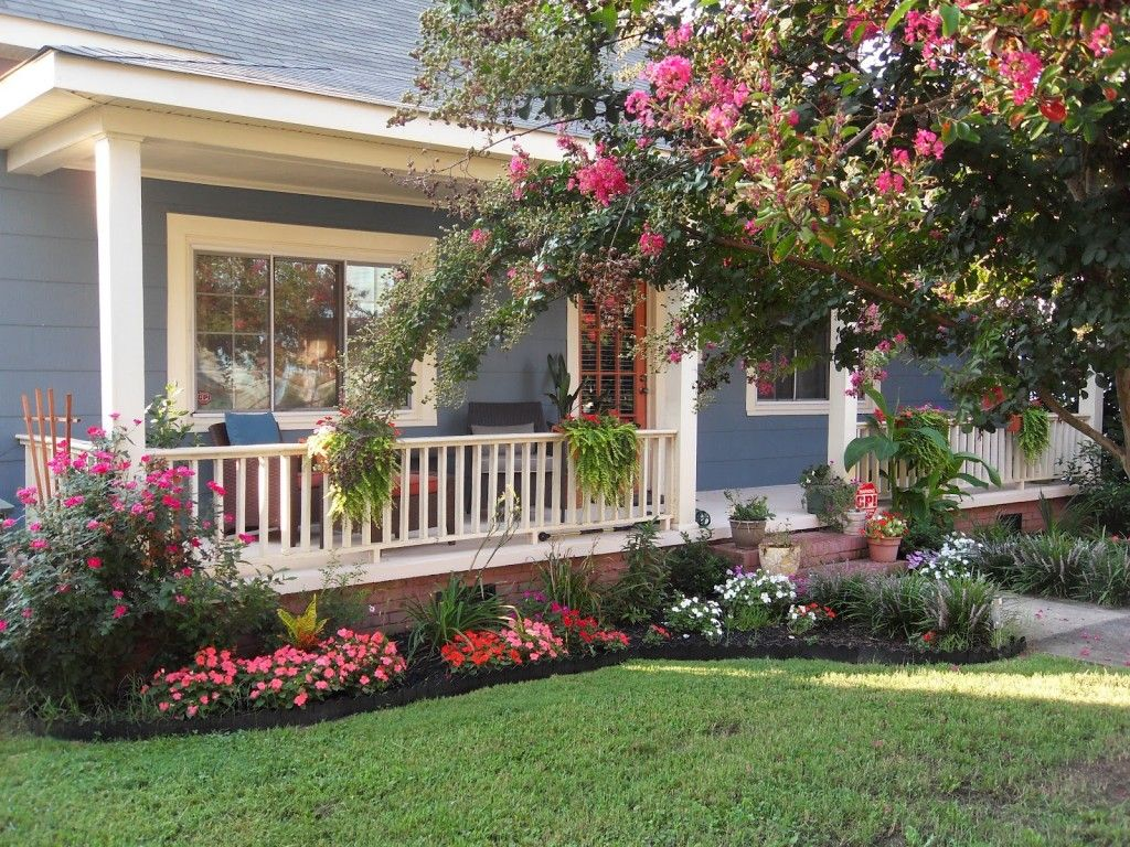 Front Yard Landscaping Plants With Pink And Red Flowers And Blue