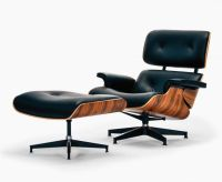 Eiffel Lounge Chair & Stool - Italian Black - Eames Lounge ...