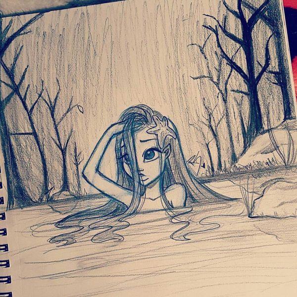 Cute Sad Girl In River Drawn Christina Lorre