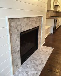 LOVE this hex mosaic tile fireplace surround - Chenille ...