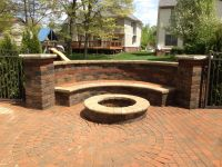 Brick paver bench with fire-pit. Beautiful tumble ...