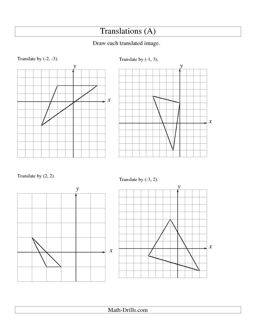Translation of 3 Vertices up to 3 Units (A) Math Worksheet