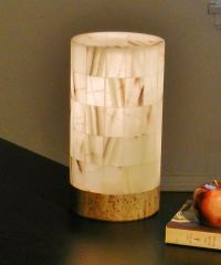 Table lamp Onyx/alabaster Vtg Stone Rustic nightstand ...