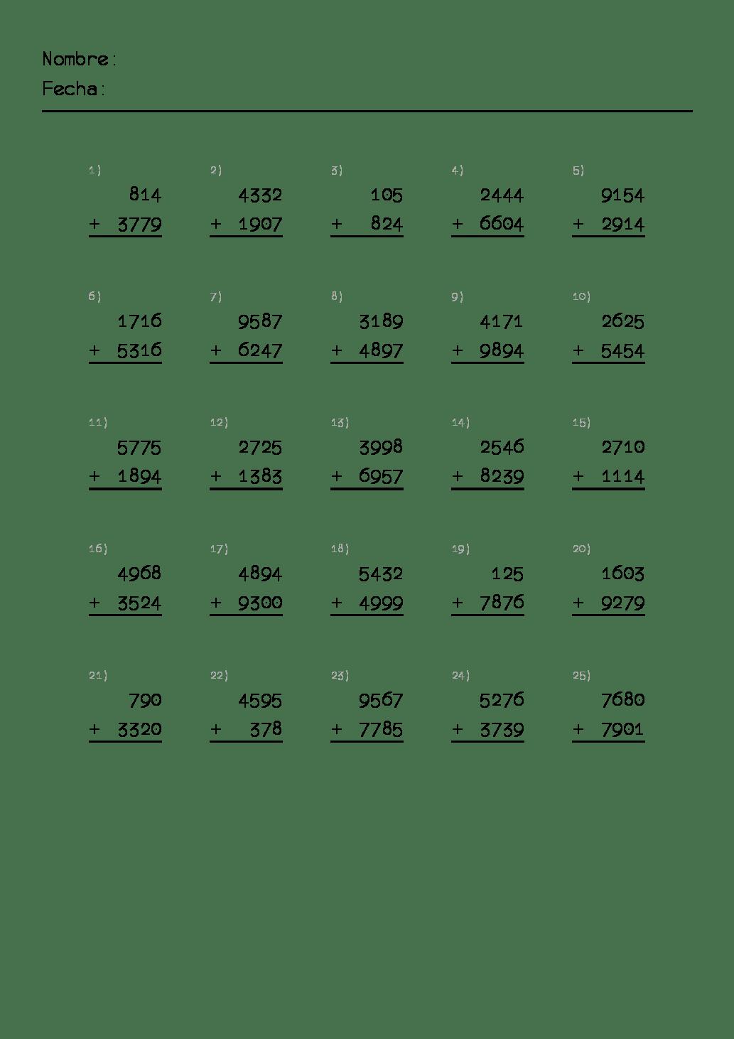 Fichas De Matematicas Para Primaria Para Imprimir