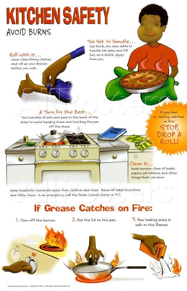 kitchen safety poster avoid burns  Food  Kitchen Safety