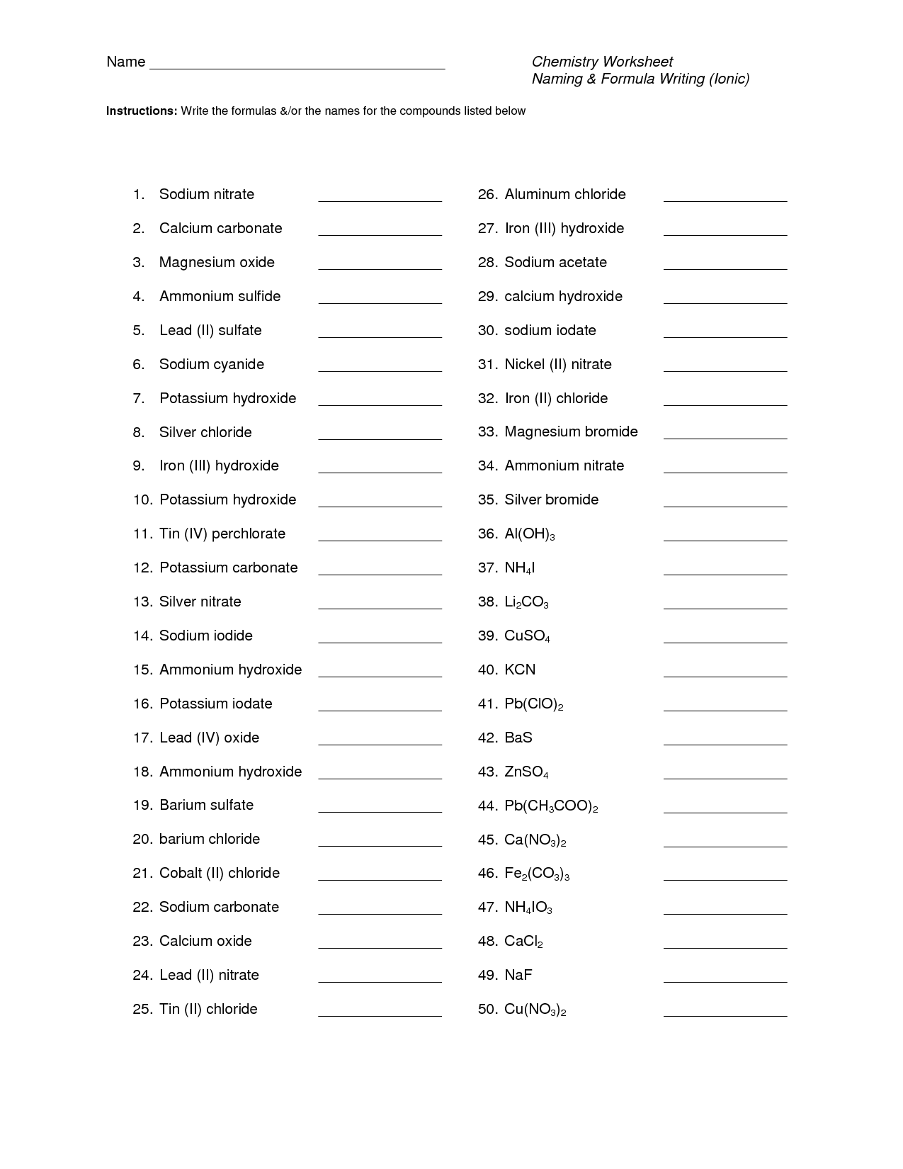 hight resolution of 31 Naming Chemical Compounds Worksheet Answers - Worksheet Project List