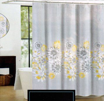 Cynthia Rowley Fabric Shower Curtain Gray Yellow And White