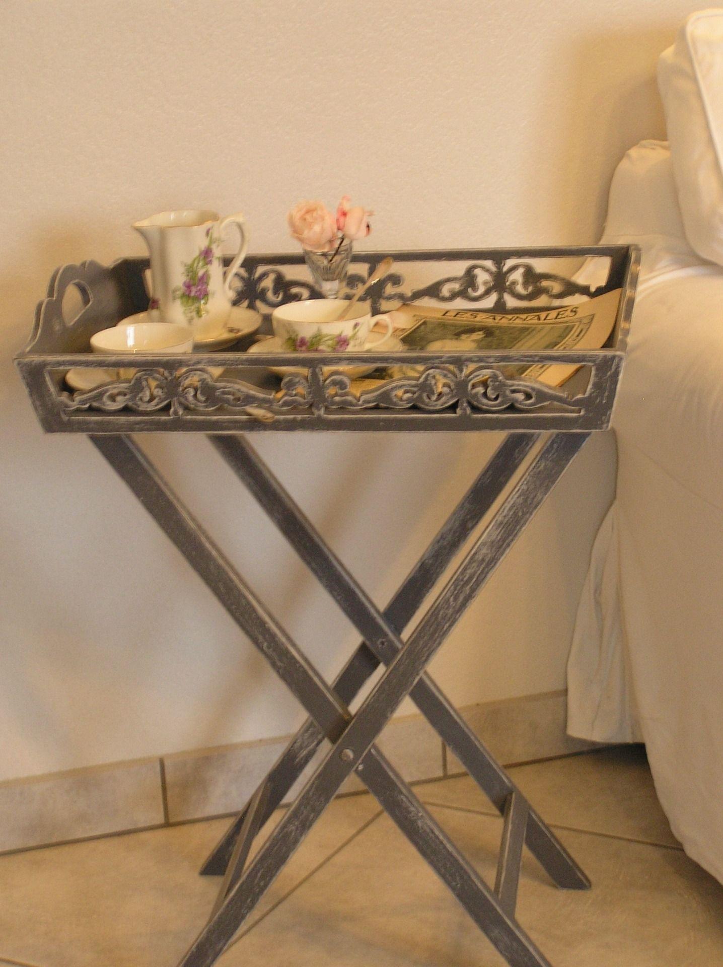 Elegant Table Pliante Desserte Patine Avec Plateau
