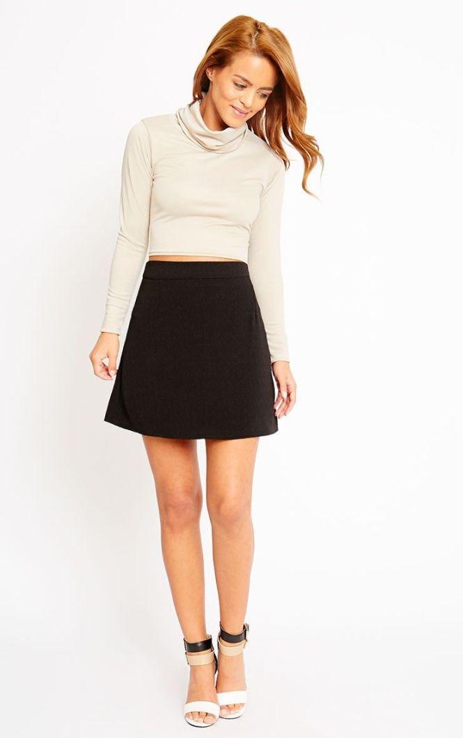 A Line Black Skirt Short - Skirts