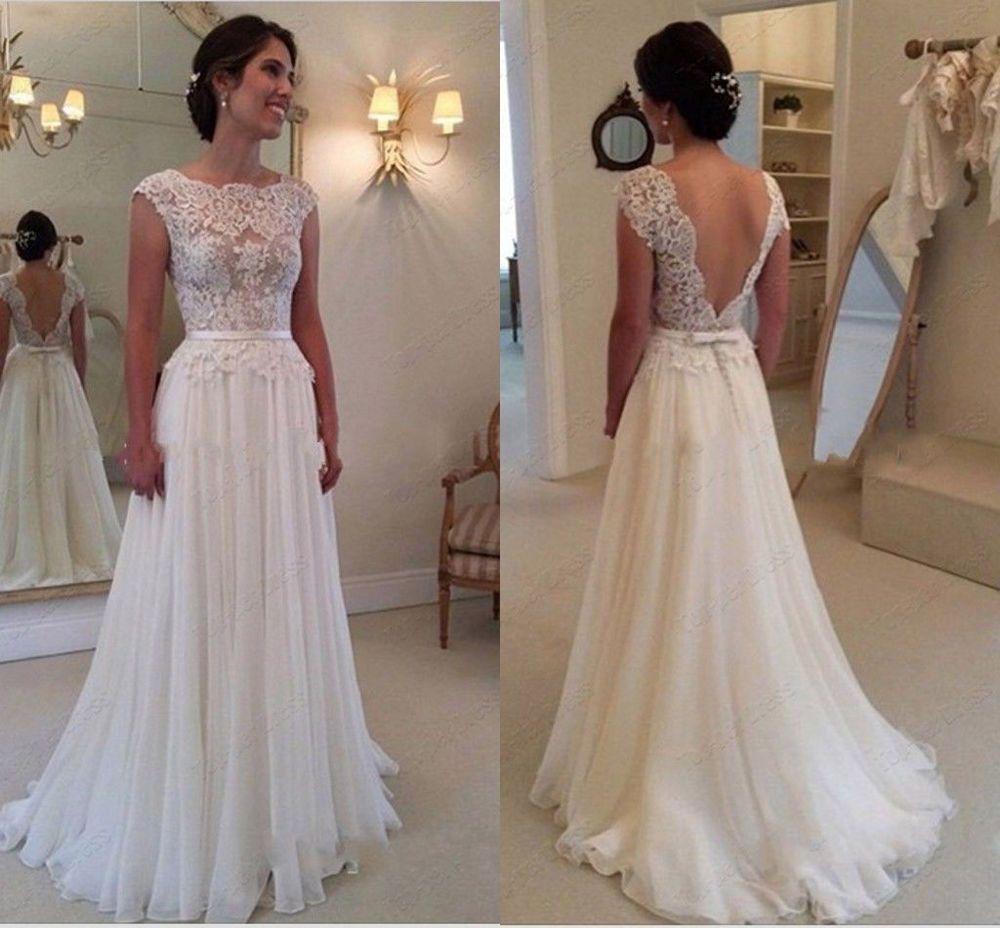 2015 Spitze wei Elfenbein Hochzeitskleid Brautkleid Brautkleider Gre Brauch  in Kleidung