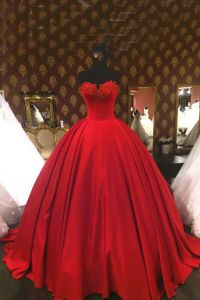 Red satin high waist prom dress, ball gowns wedding dress ...