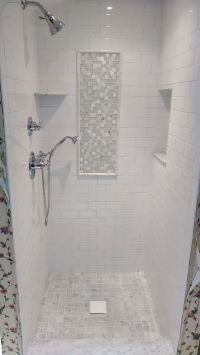white subway & marble tile shower - Google Search ...