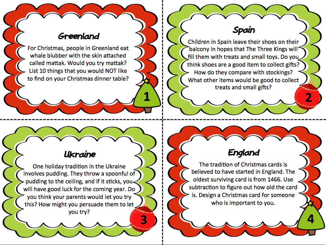 Christmas Around The World Creative Thinking Task Cards