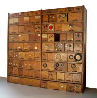 Vintage Hardware Store Bins and Shelving Cabinet / Oak ...