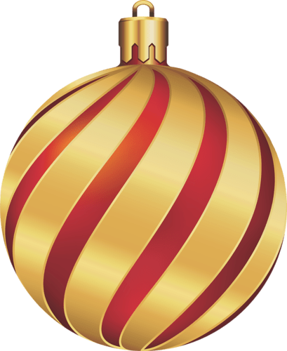 christmas gold and red swirl ornament
