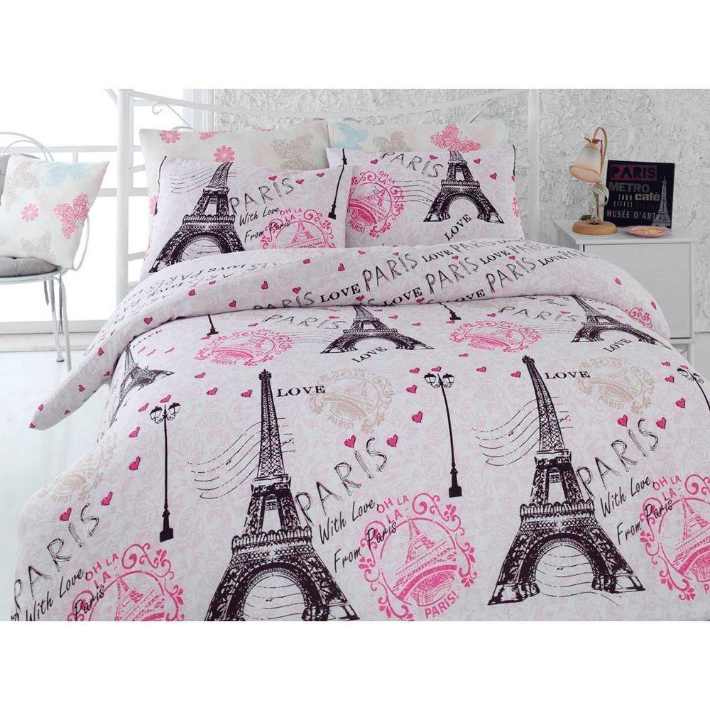 Paris Eiffel Tower Pink Twin / Queen Bedding Duvet Cover