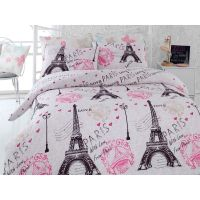 Paris Eiffel Tower Pink Twin / Queen Bedding Duvet Cover
