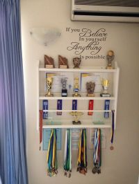Trophy display using a plate shelf from IKEA. Needed ...