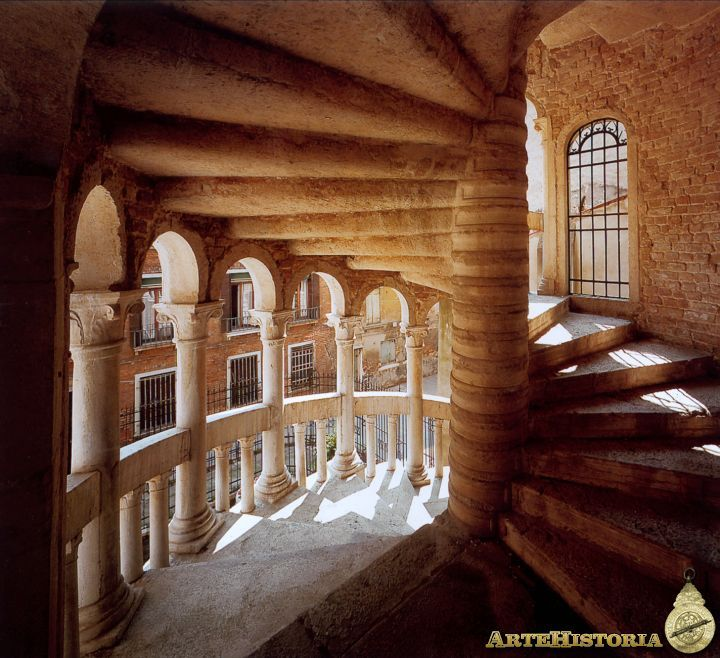 Inside view of the famous spiral staircase of Palazzo