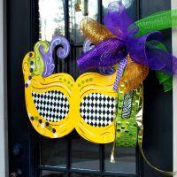 Mardi Gras Mask Wreath   Mardi Gras Door Hanger   Mardi ...