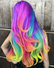 neon unicorn rainbow hair color